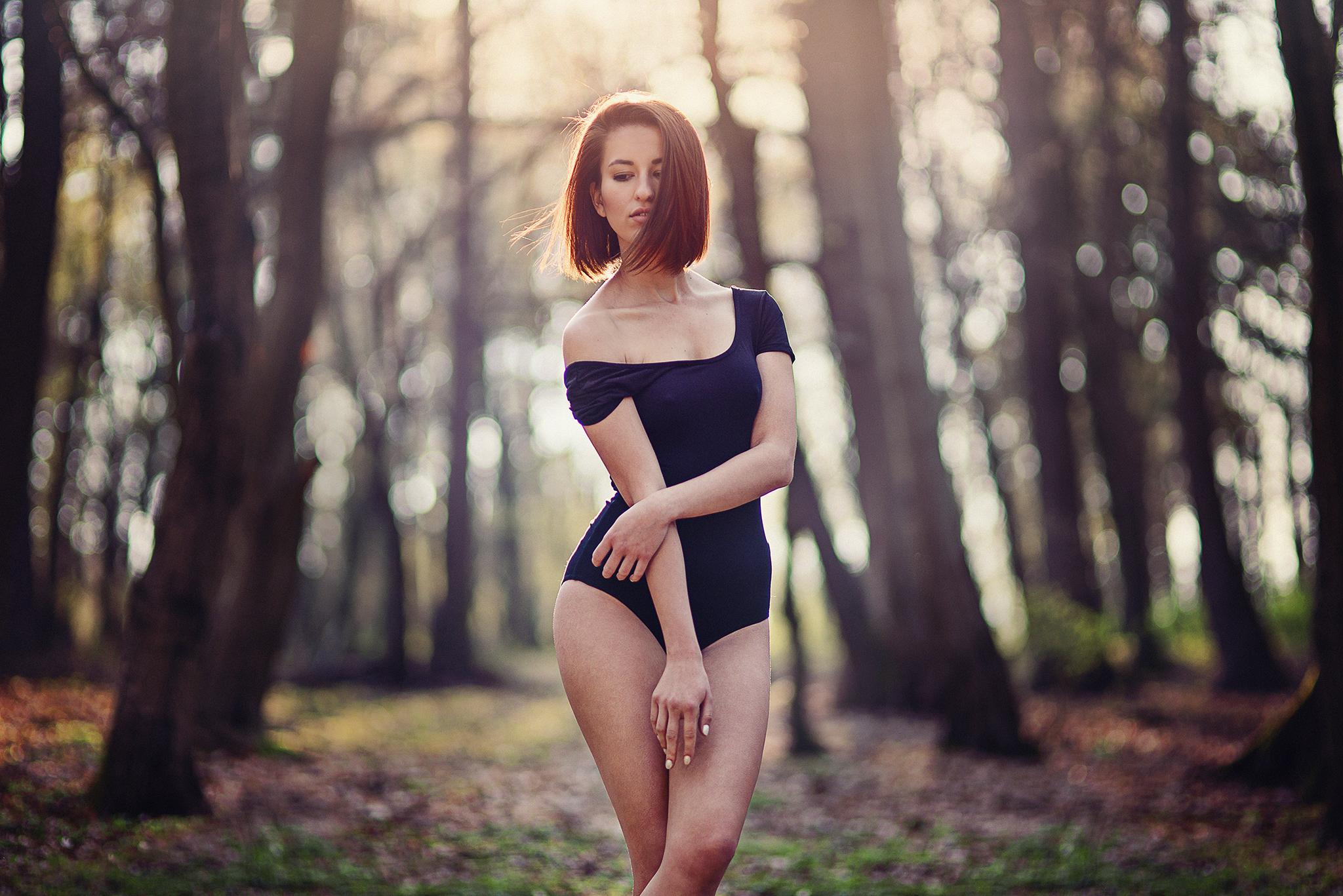 západ slnka, les, vietor, body, glamour, sexy, beauty