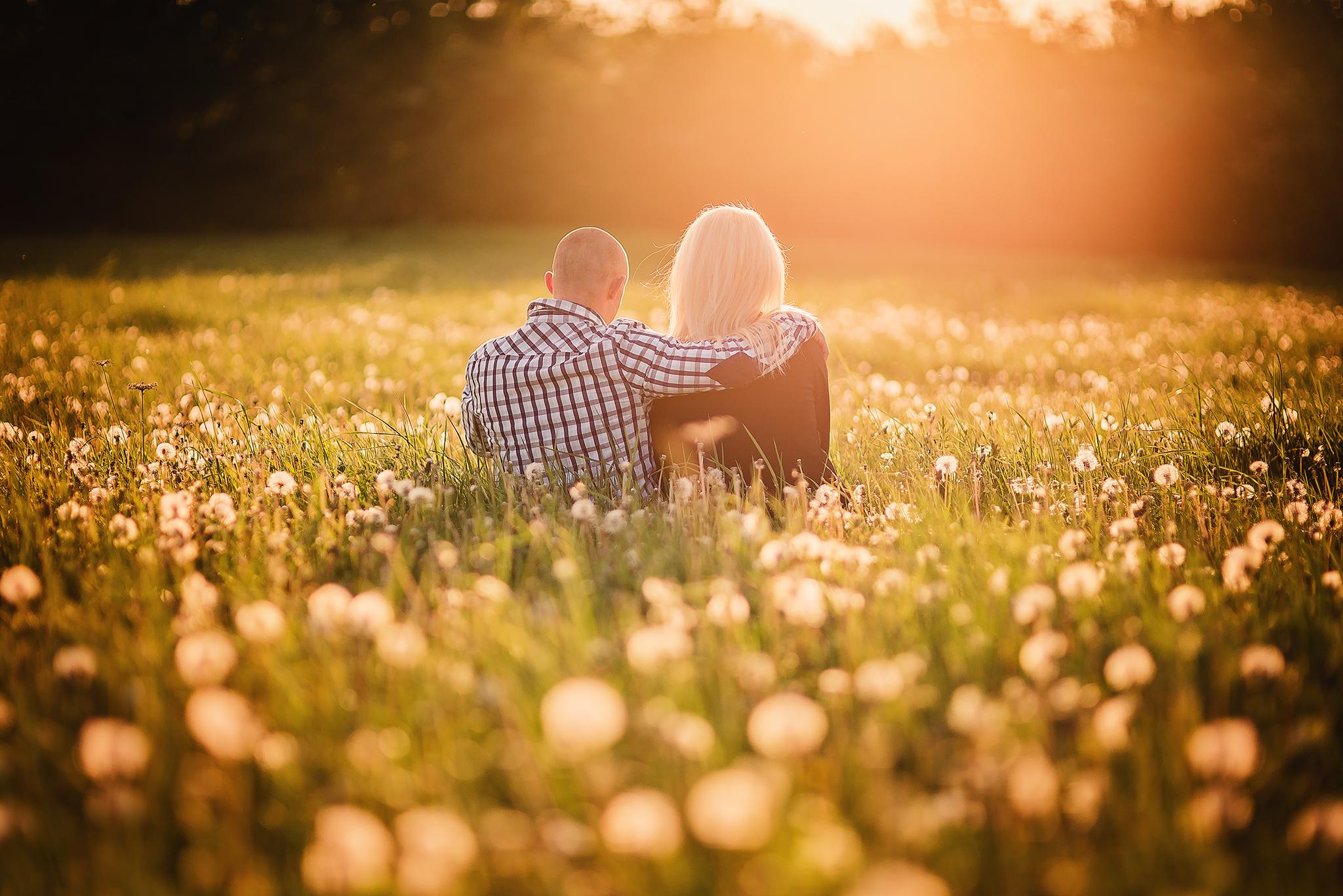 láska, príroda, love, lúka, púpavy, západ slnka, sunset, romantika, radosť, zamilovaný pár, jar, spring