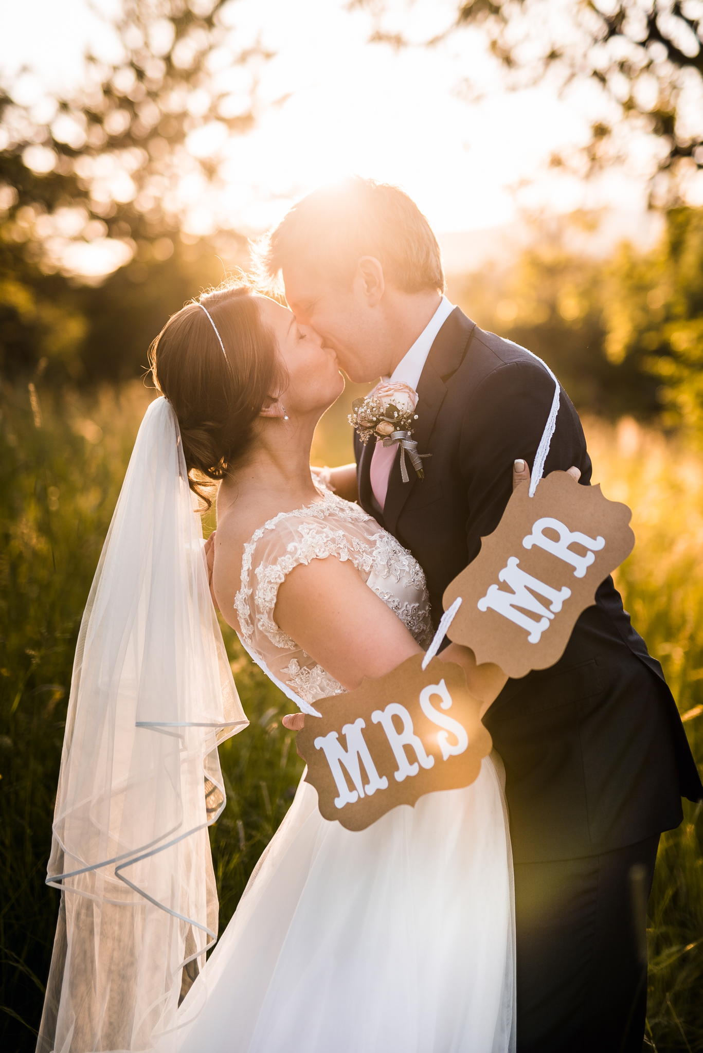 sunset, bride, groom, wedding dress, mrs, mr, love, kiss, Slovakia, backlight, romantic, beautiful, nature, summer, spring