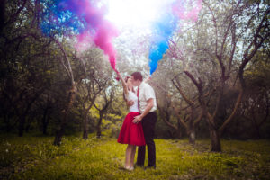 sad, stromy, pár, farby, svadba, trash the dress, smoke