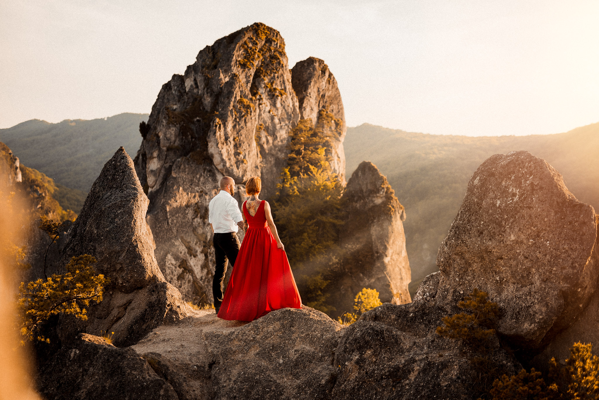 Súľovské skaly, rande, pár, svadba, šaty, západ slnka, príroda